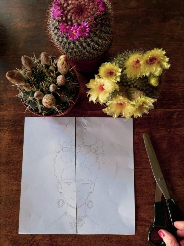 Volto di Frida Kahlo sul vaso